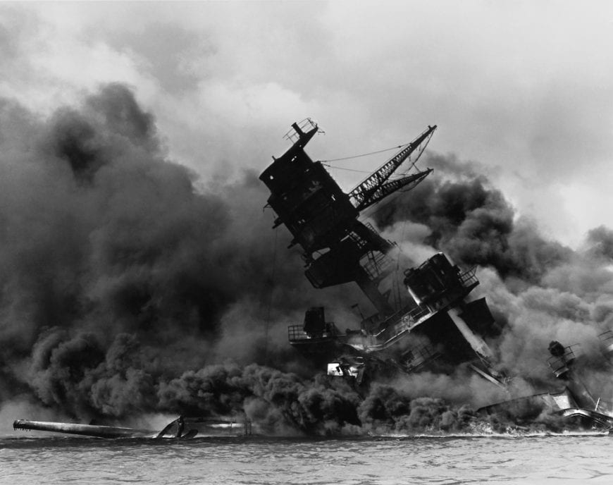 USS Arizona being bombed at Pearl Harbor, 9/11 ptsd
