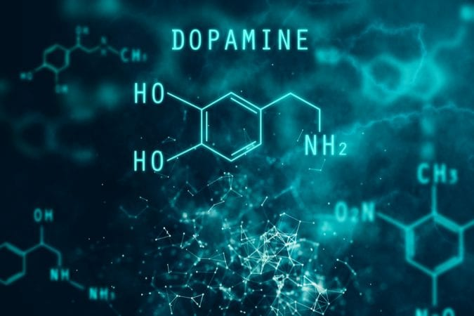 3D animation of dopamine chemical structure