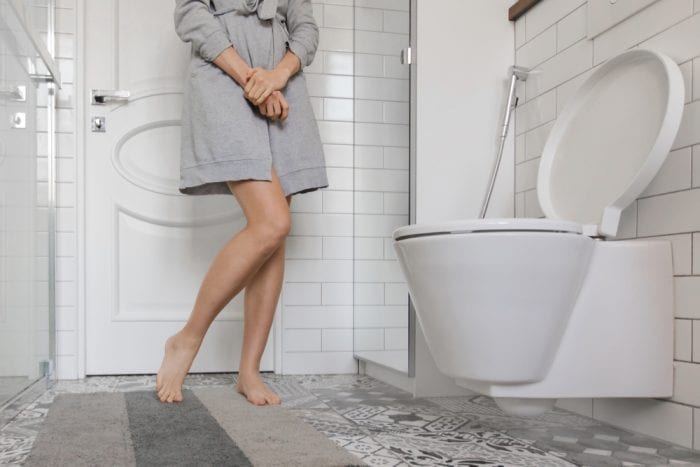 bladder pain brings woman back to the bathroom