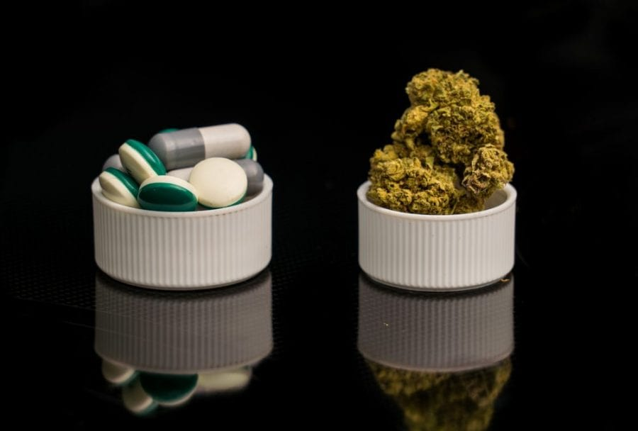 cannabis or opioids offered in white cups