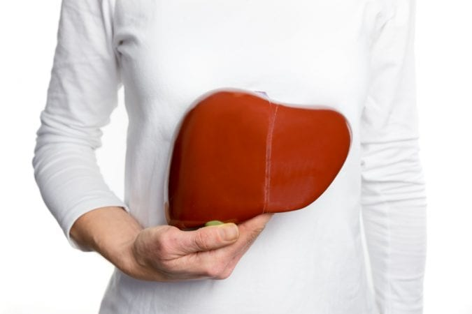 Woman Holding Healthy Liver Pillow
