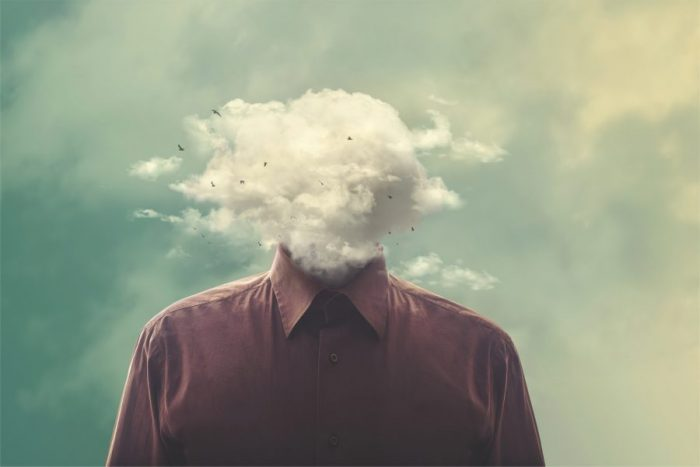man with a cloud for a head