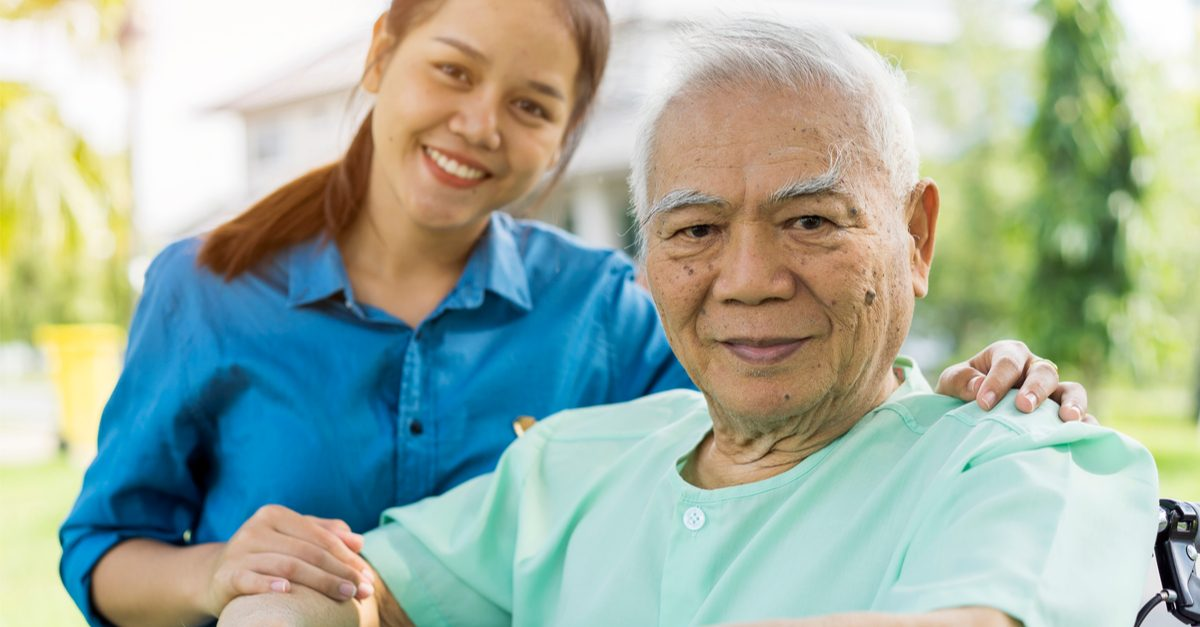 cannabis and parkinson't represented by asian nurse and older asian man