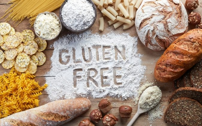 Gluten Free word surrounded by product