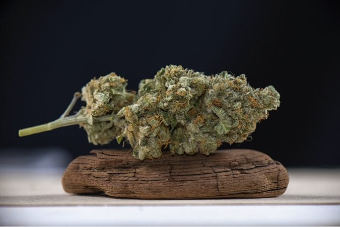 Cannabis nug resting on piece of wood