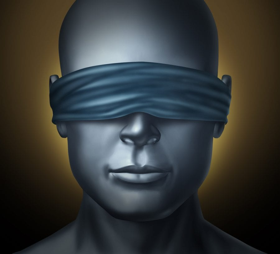 Blindfolded human head