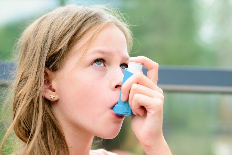 Girl with inhaler