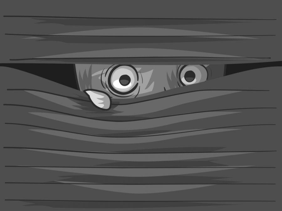 Fearful face peeking through the blinds