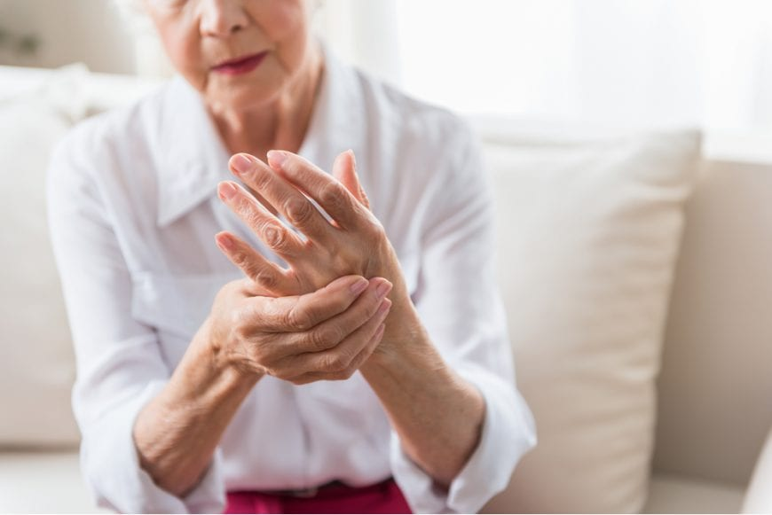 Old Woman Expressing Pain from Arthritis