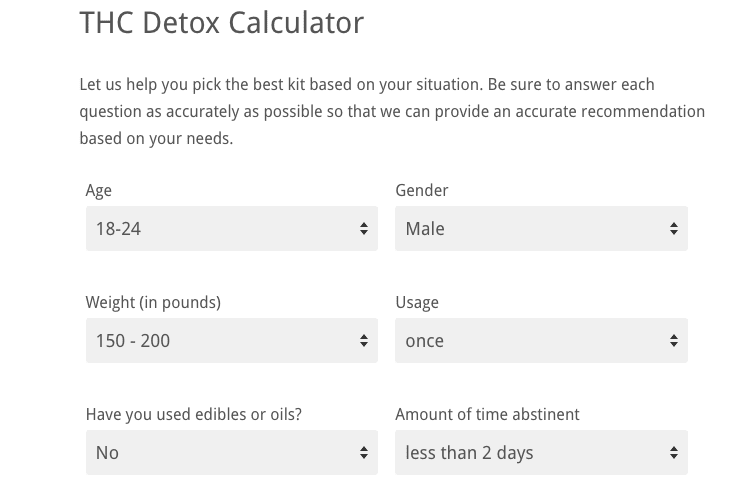THC Detox Calculator