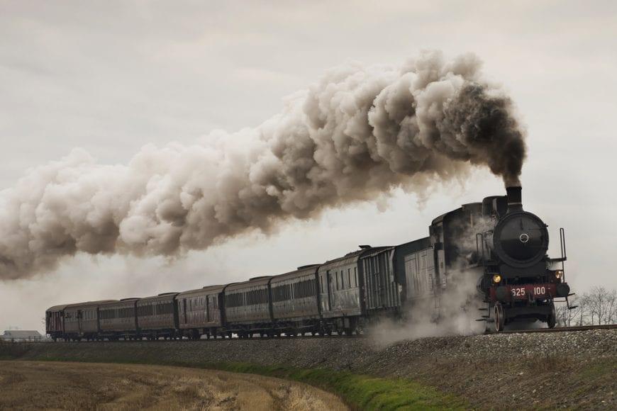 Steam Train running down tracks representing modern medicine