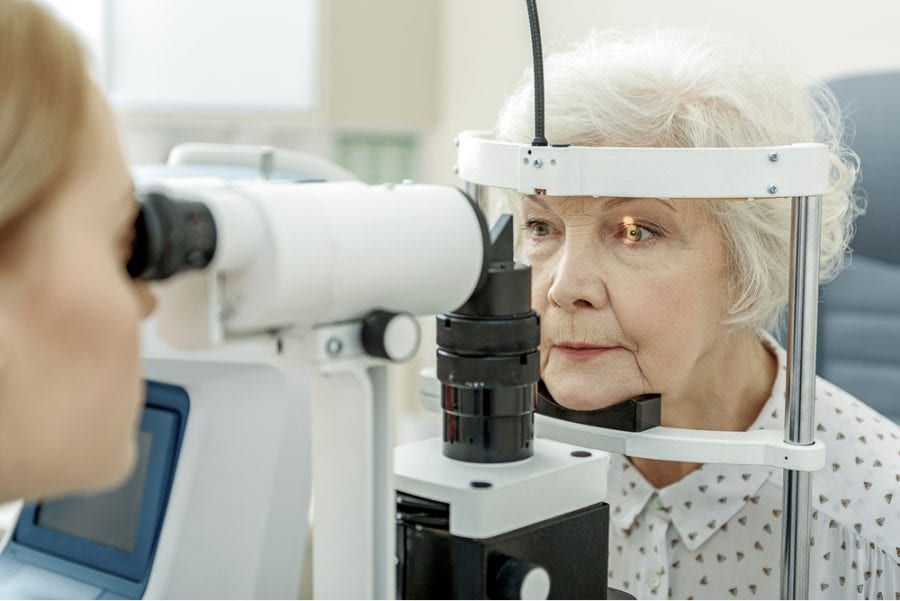 Elder woman having eye examination