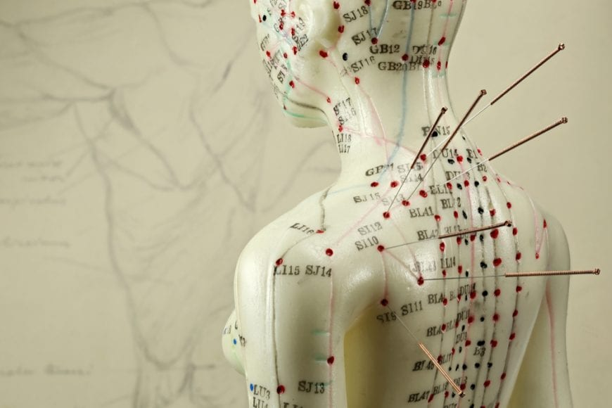 Acupuncture on dummy