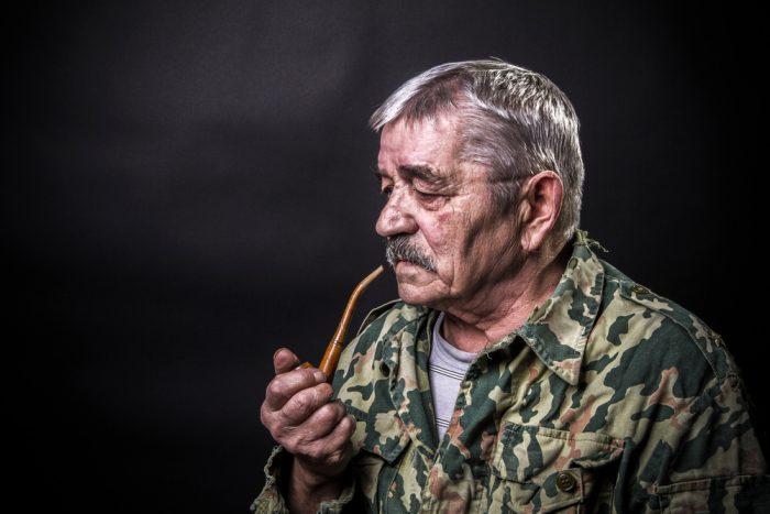 vet smoking a pipe
