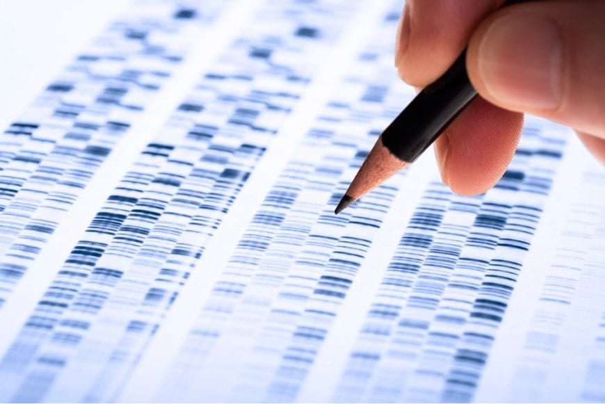 DNA Analysis and doctor hand circling areas of concern, gene mutations