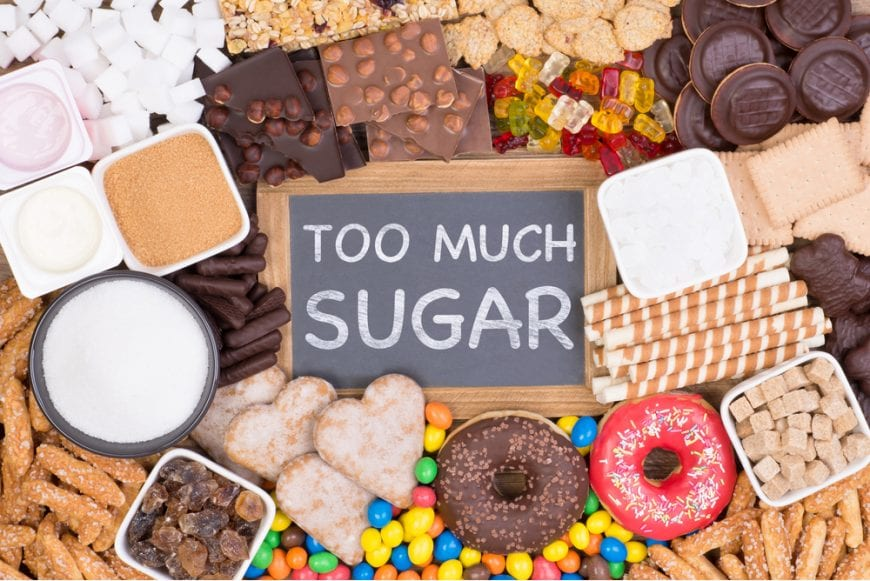 poor blood sugar regulation represented by Sugar treats around a sign that reads too much sugar