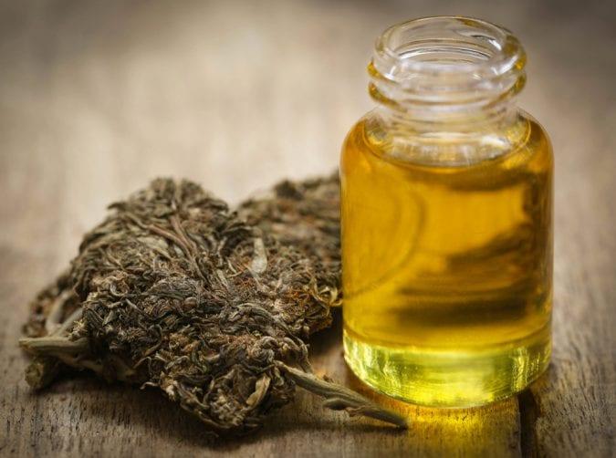 Cannabis Oil Next to Bud