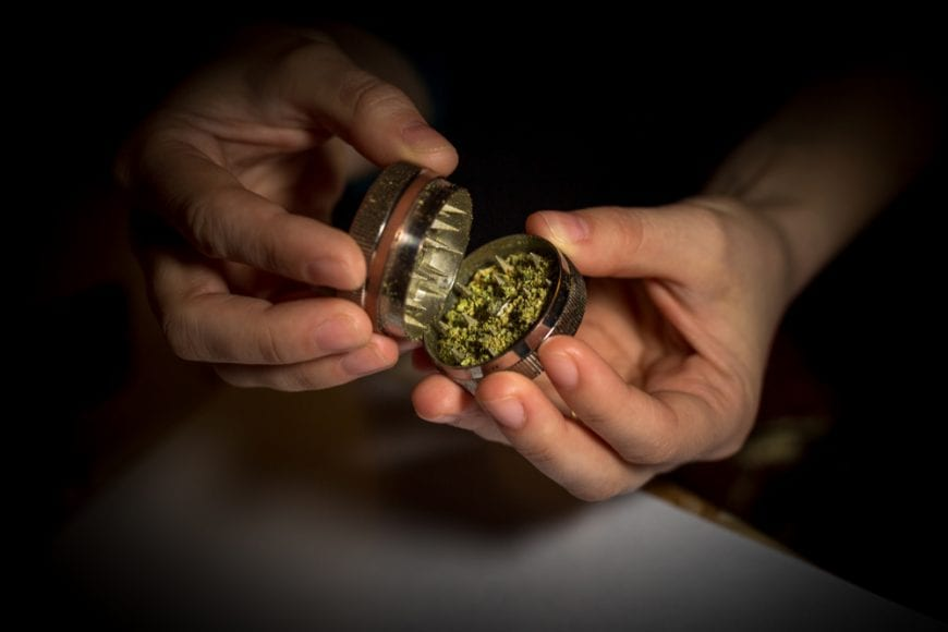 Man's hands opening grinder filled with cannabis