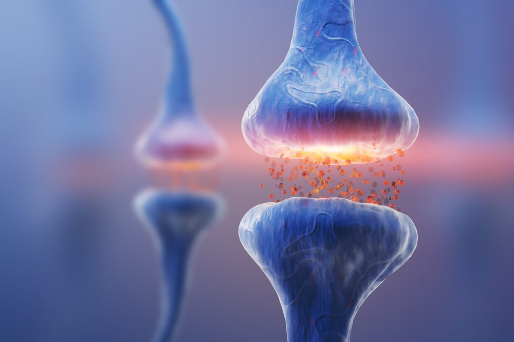 animation of nerve synapse to represent action of THC in cannabis
