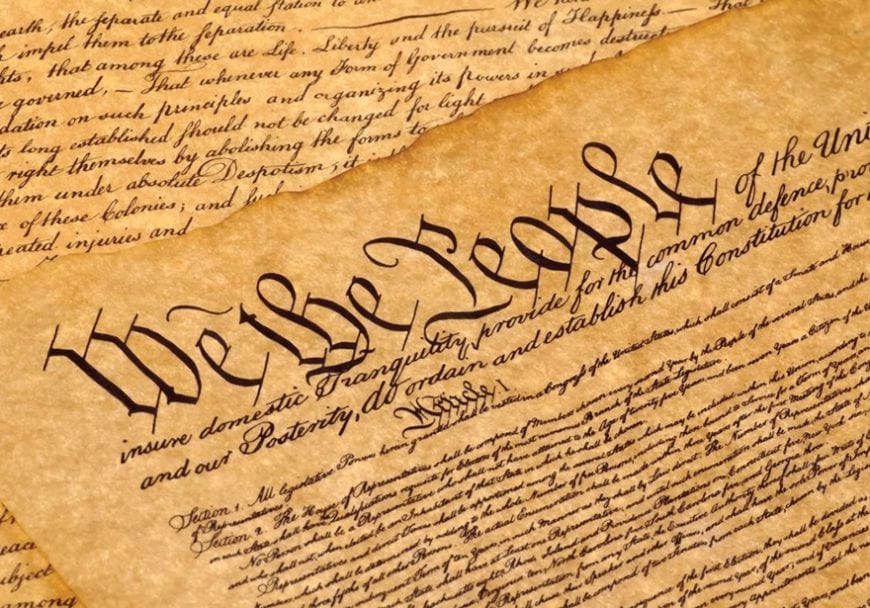 Close up of American constitution