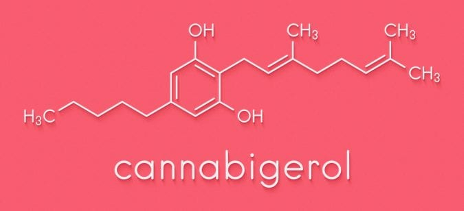 CBG Chemical Structure on Pink Background