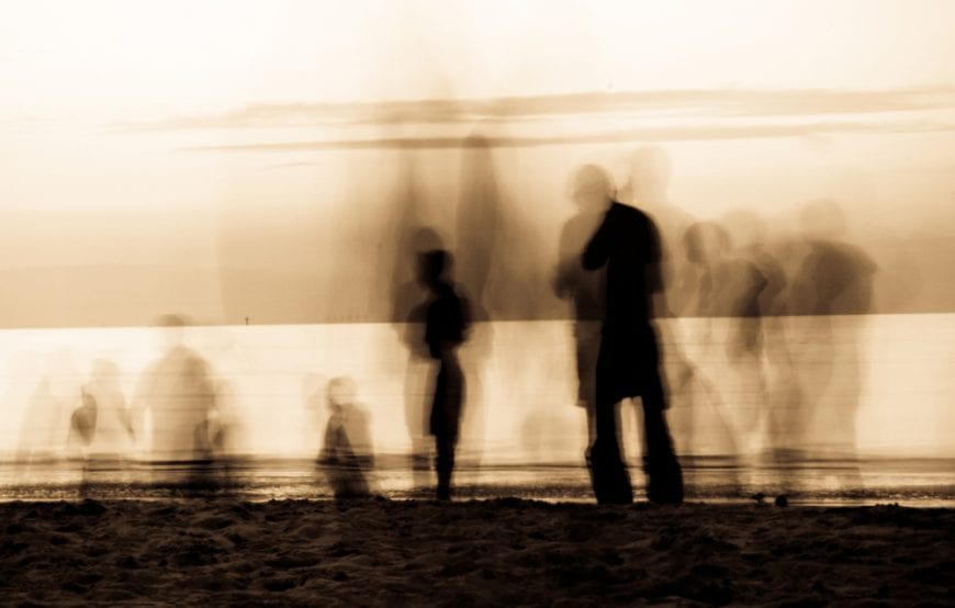 Ghosts on a beach psychosis concept