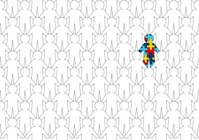 Autism symbol white stick ppl and one made of puzzle pieces
