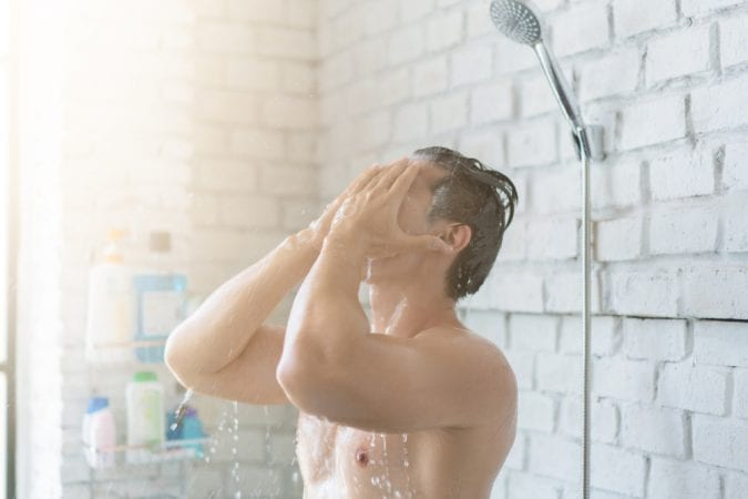 Man in hot shower