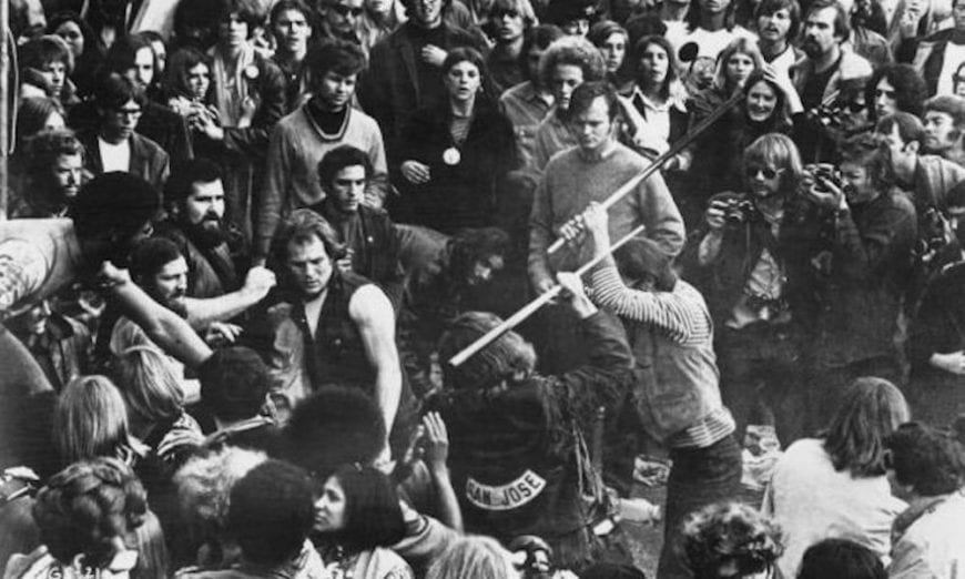 pool cue fight in the crowd at altamont