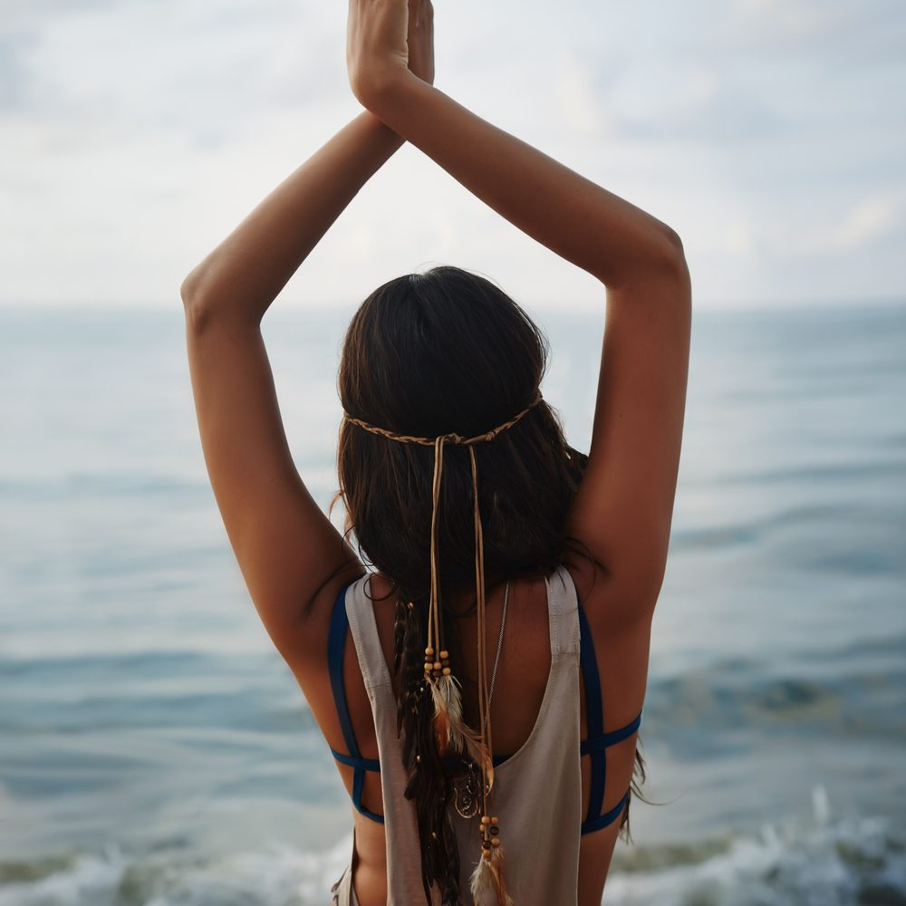 hippie girl at beach