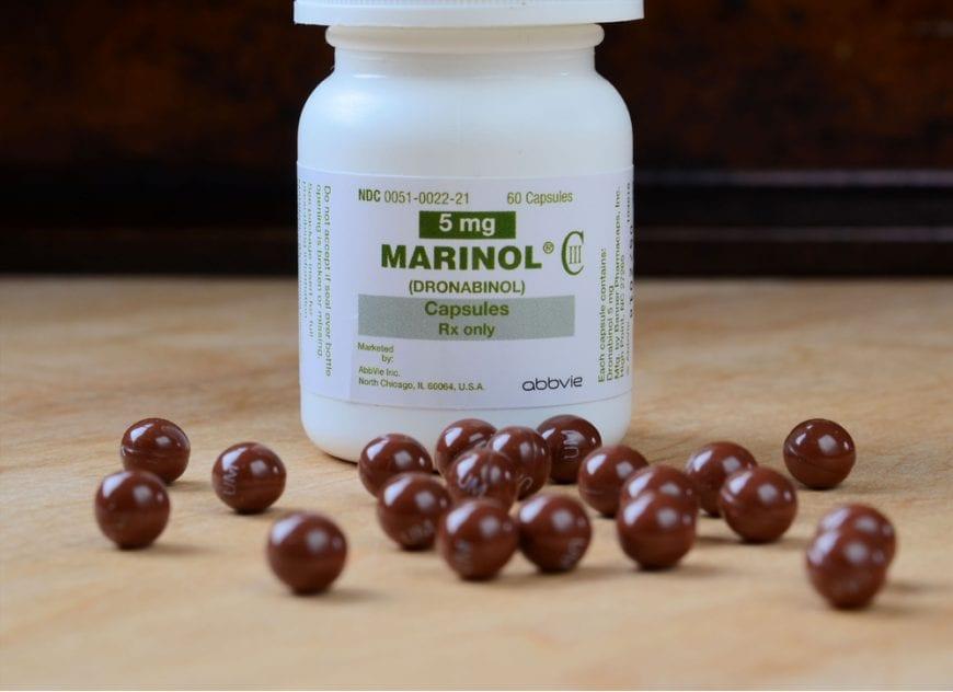 marinol bottle and pills