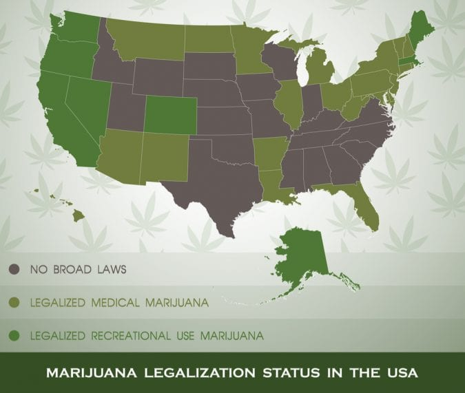cannabis, legalization, USA, map, medical cannabis, recreational cannabis, fired, employment, legislation, THC, CBD