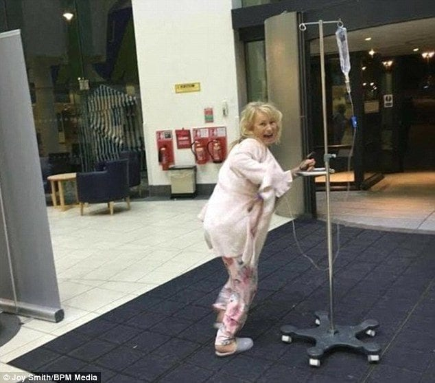 Joy Smith walking with IV pole