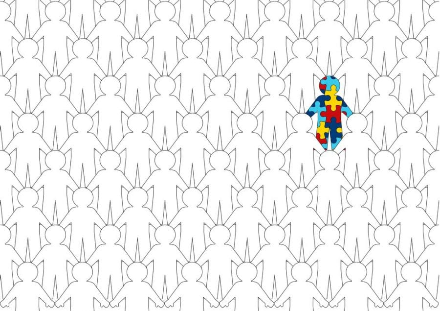 blank cartoon figures and one like a colorful puzzle figure