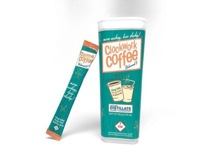 Clockwork coffee with THC distillate