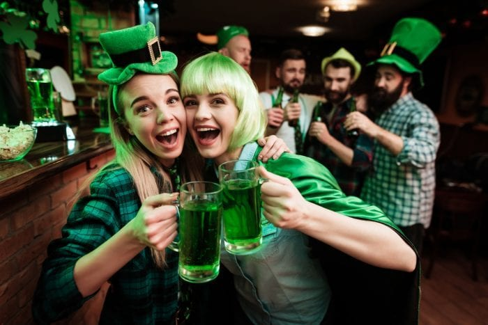 St. Paddy's Day edibles won't leave these young white women with the hangover the alcohol they are cheersing with will