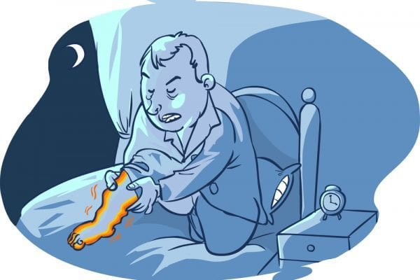 Cartoon showing a man with restless leg syndrome in bed