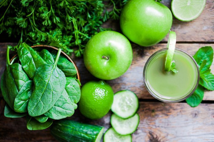 raw cannabis juice made with apples and spinach ingredients ready to