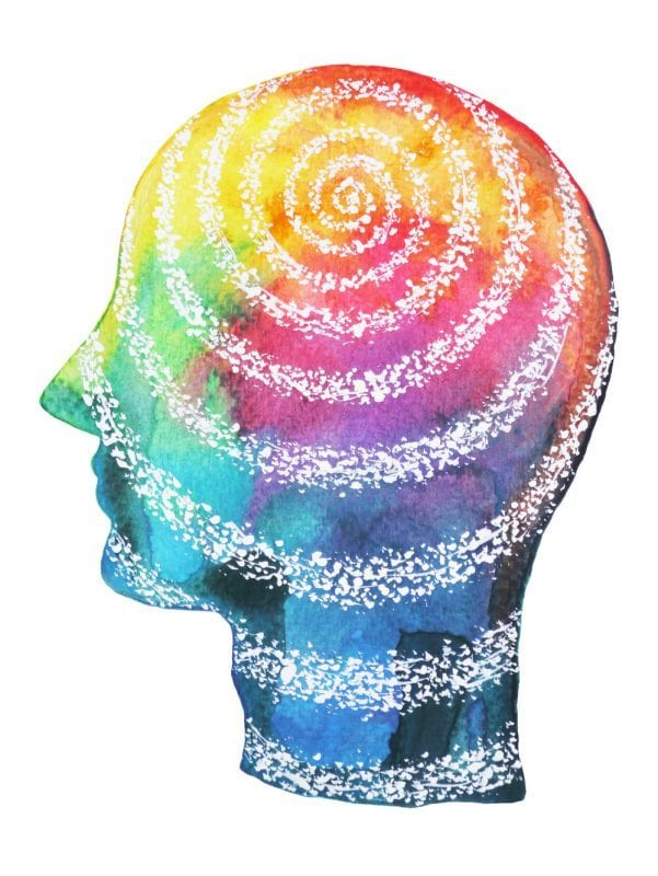 healthy brain concept art with colors and swirls