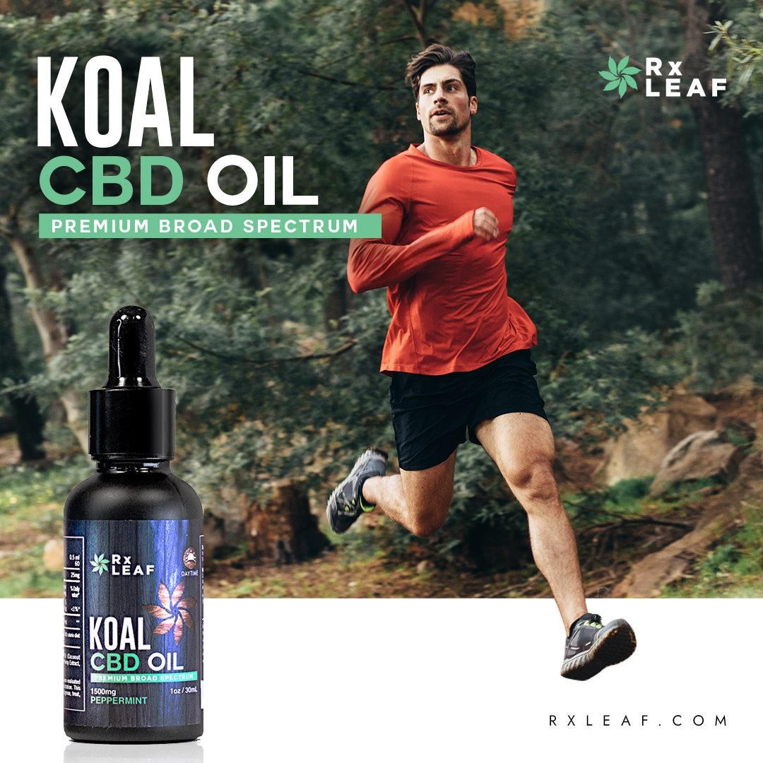 young man running product placement for RxLeaf CBD Oil