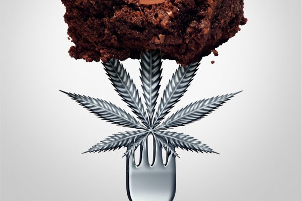 dosing edibles with brownie on a fork