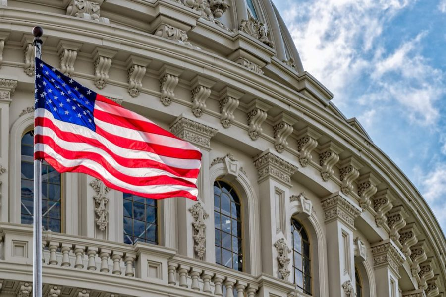 US flag in front of congressional building