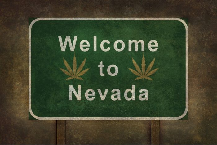 Welcome to Nevada Sign with Cannabis Leaves