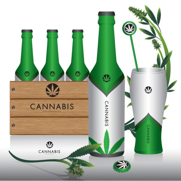 cannabis infused drink in bottles and a glass