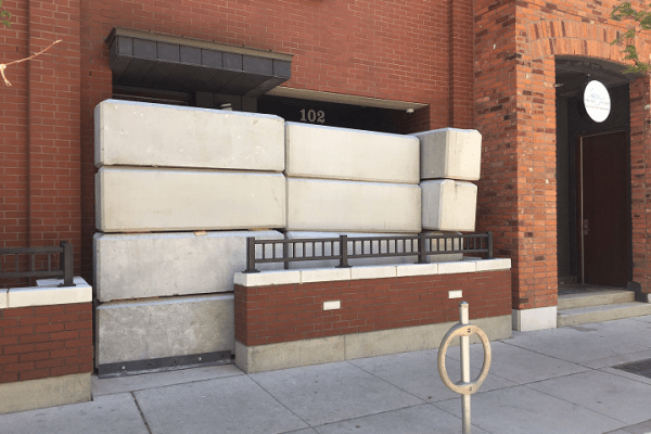 concrete blocks covering illegal dispensaries in Toronto Ontario
