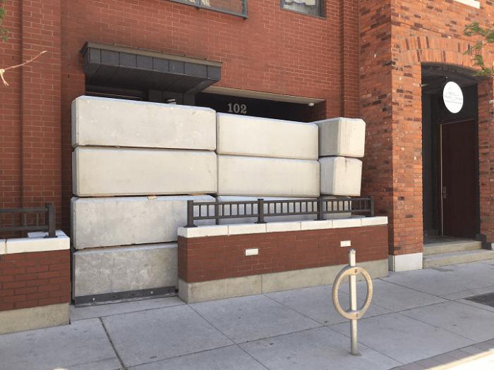 concrete blocks covering illegal dispensaries in Toronto Ontario