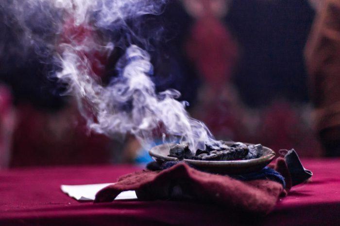 ceremonial smoke in native ceremony
