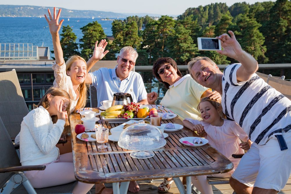 family take a photo