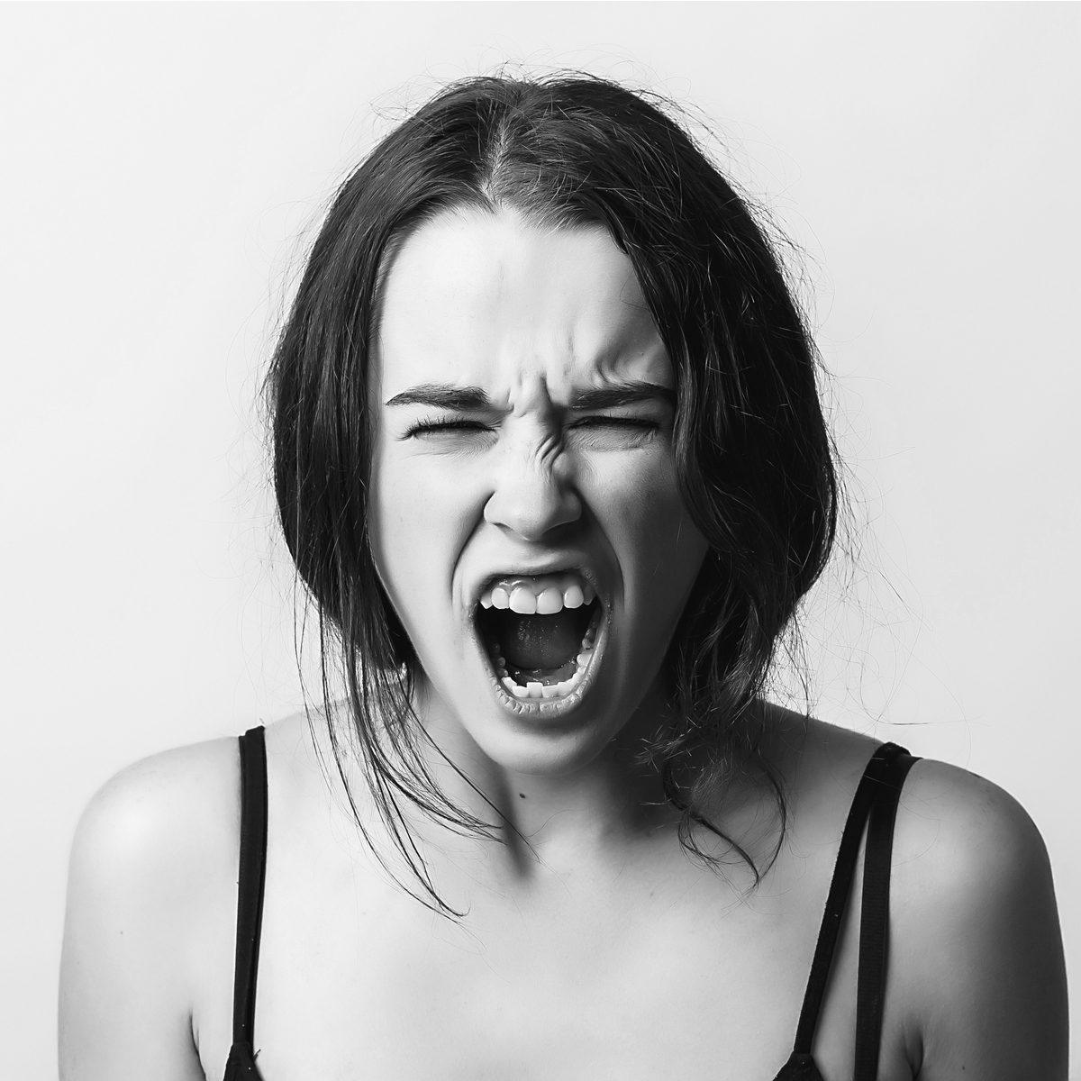 animal aggression woman with very angry face