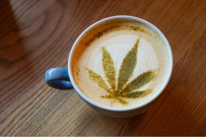 coffee with cannbis leaf on top